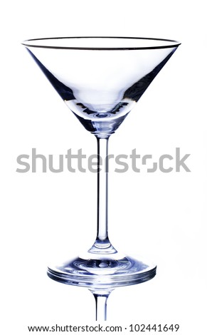 Classic martini glass. High contrast over white. - stock photo