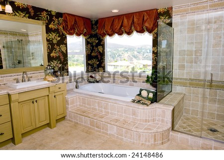 Classic master bathroom with travertine tile - stock photo