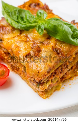 Classic Meat & Cheese Lasagna - stock photo