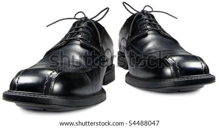 Classic men's black club shoe, isolated wide angle macro closeup - stock photo