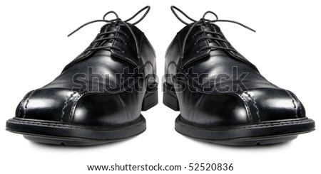 Classic men's black club shoe pair, isolated wide angle macro closeup - stock photo