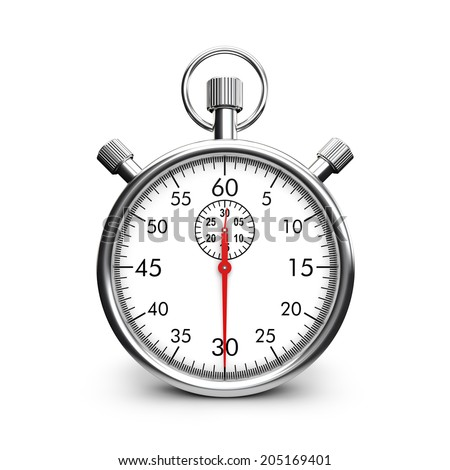 classic metal stopwatch isolated white background - stock photo