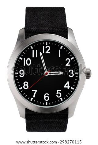 Classic metallic case wristwatch - stock photo