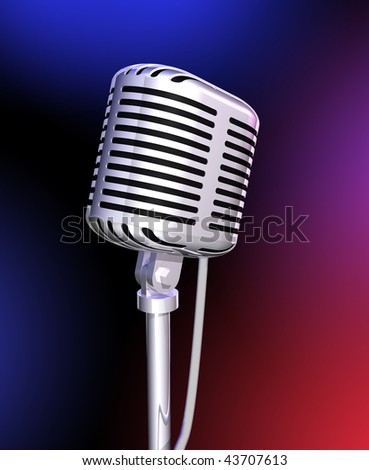 Classic microphone in color lights