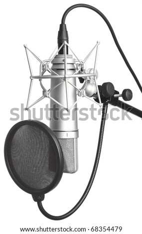 classic microphone isolated on a white background - stock photo