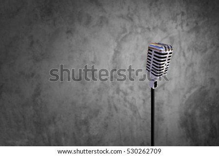 Classic microphone on Blur Raw cement wallpaper interiors background in loft Style and Clipping path for 2017