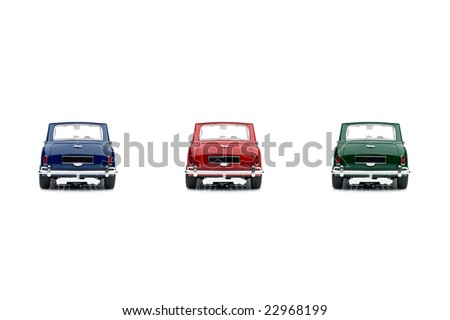 Classic mini model back view 3 color - stock photo