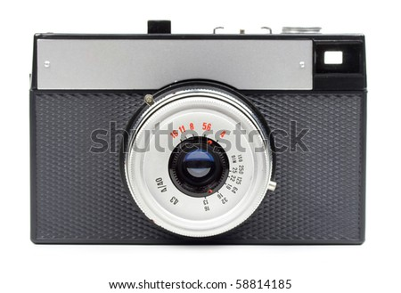 Classic 35mm film camera isolated on white - stock photo
