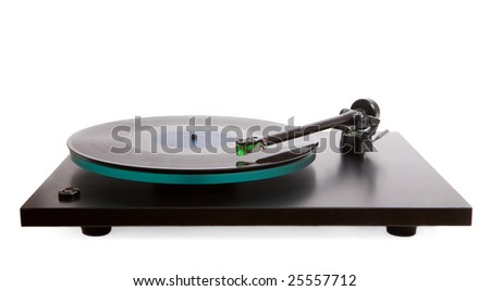 classic model of turntable isolated on white