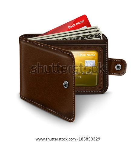 Classic modern brown leather pocket open wallet with credit card money bills and id document  illustration - stock photo