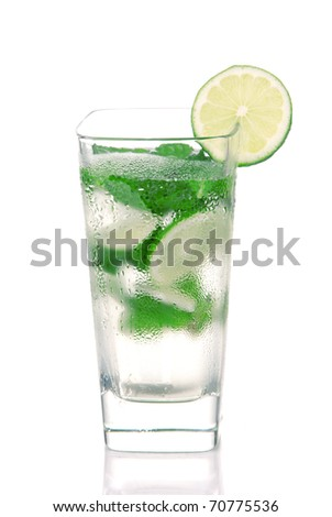Classic Mojito Cocktail drink with light rum, lime, spring of mint, club soda and syrup in cocktails highball glass isolated on a white background - stock photo
