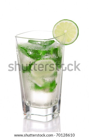 Classic Mojito Cocktail drink with light rum, lime, spring of mint, sprite soda and syrup in cocktails highball glass isolated on a white background - stock photo