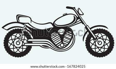 Classic motorcycle isolated on blue background. Raster version - stock photo