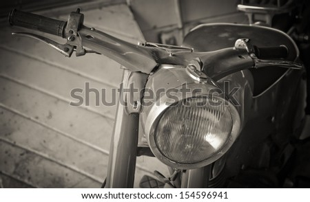 Classic motorcycle  Museum located in the old car in Thailand - stock photo