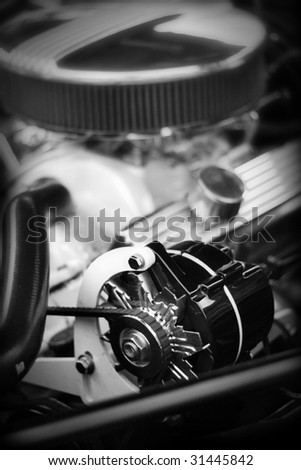 Classic muscle car engine - stock photo