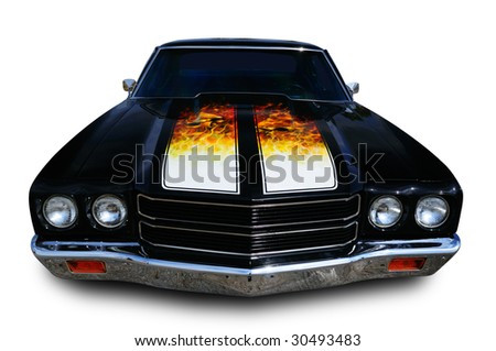 Classic muscle car isolated on white with clipping path excluding shadow - stock photo