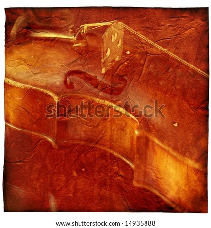 Classic music background with violin on shabby grunge texture. - stock photo