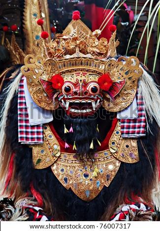 Classic national Balinese dance Barong, close up of Barong - stock photo