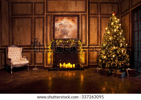 Classic New Year Tree decorated in grunge room interior - stock photo