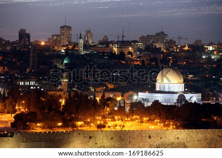 Classic Night view of Temple Mount with Dome of the Rock and old city from the Mt of Olives in Jerusalem, Israel