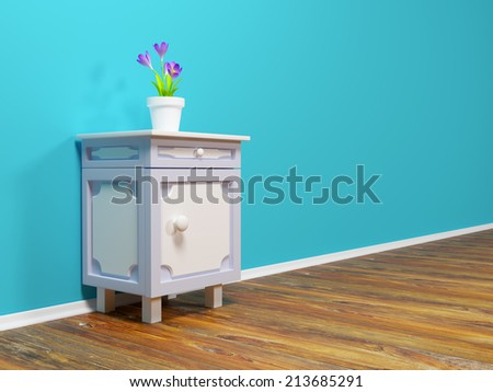 classic nightstand with flower at the wall - stock photo
