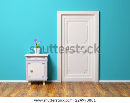 classic nightstand with flower at the wall and door. 3D illustration - stock photo