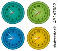 Classic office clocks in a round frame. Vector without mesh - stock photo