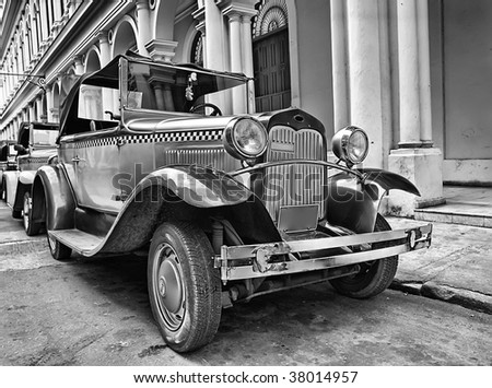 Classic old cars in Havana street - stock photo