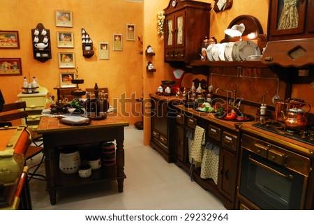 Classic old fashioned kitchen interior - stock photo
