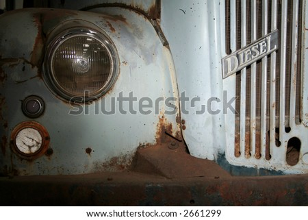 Classic old rusted diesel truck