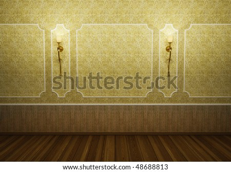 Classic old seat in ancient room - stock photo
