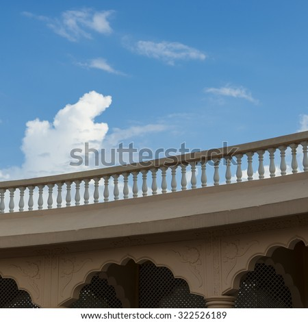 Classic old style balustrade railing on the terrace. - stock photo