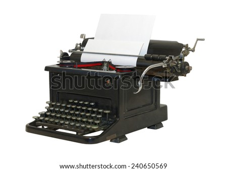 Classic Old typewriter - front/side view (isolated) - stock photo