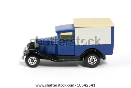 Classic Old Vintage Blue delivery van truck