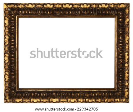 classic old wooden picture frame carved by hand on white background