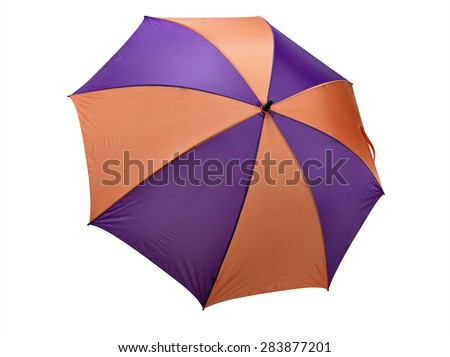 Classic Orange and purple Umbrella on White. Clipping path included.  - stock photo
