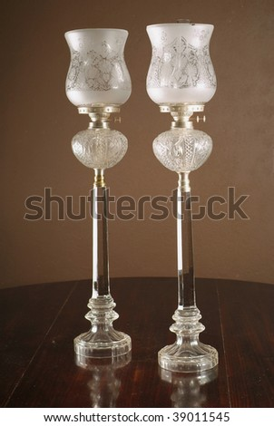 Classic parafin lanterns on table