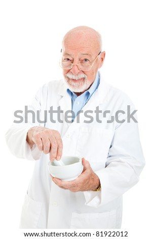 Classic pharmacist with a mortar and pestle, isolated on white background. - stock photo