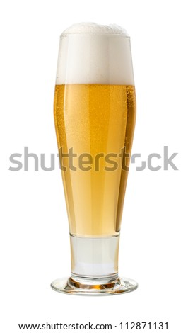 Classic Pilsner (Beer) Isolated with clipping path - stock photo