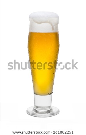 Classic Pilsner Beer with Condensation, with Foam Head and Drip  - stock photo