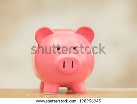 Classic pink piggy bank savings piggybank - stock photo