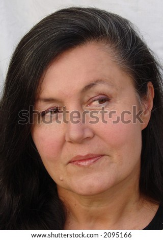 Classic portrait of an older woman - stock photo