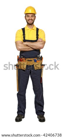 classic pose of young caucasian confident smiling handyman isolated on white background - stock photo