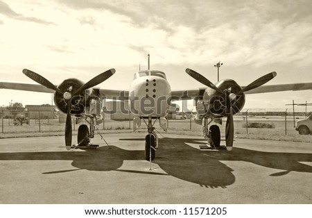 Classic propeller bomber front view