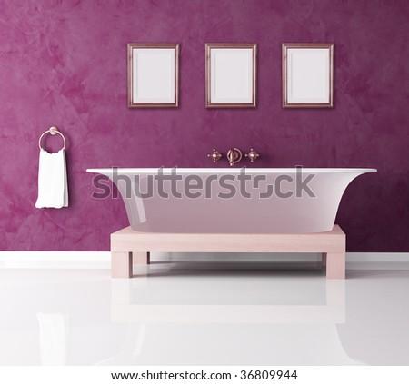 classic purple bathroom with fashion bathtub -rendering - stock photo