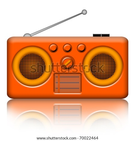 Classic radio receiver isolated over white background - stock photo