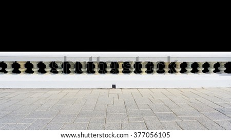 Classic railing with floor isolated on white background - stock photo