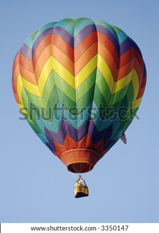 Classic Rainbow Stripes Hot Air Balloon - stock photo