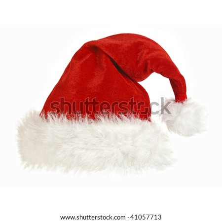 classic red and white santa claus cap isolated - stock photo