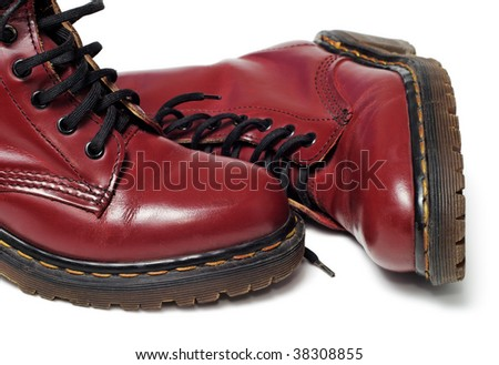 Classic red boots isolated white